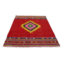 """Pre-owned Red Kilim Rug Diamond Patterned - 5'1"""" x 7'-1"""" - Red Turkish kilim rug from Southern Turkey. It's a 100% handwoven rug woven on wooden loom by flat weave. It was made of finest animal fiber that of wool, on organic cotton fringes. All the fibers were colored with vegetable dyes in the area... Approximately 60 years old.    Care and Maintenance:  Regular vacuum cleaning and/or shaking the rug will remove loose dirt and fluff pile.  Immediate attention is required in case of spills. Liquids should be blotted with a clean undyed cloth, which is to be pressed firmly all around for maximum absorption.    Note from seller: all our rug's are handmade, professionally washed before listed & ready for use. Please kindly note that; the image color may differ from the actual item colors and colors may differ from screen to screen. Make sure to see our other listings…Good luck and happy shopping!"""