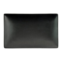 CAC China - Japanese Style 8 1/2 x 5 1/2 Rectangular Plate Non Glare Glaze Black-Case of 24 - C.A.C. China provides durable dinnerware at all levelsincluding super white porcelain fine bone china American white chinacolored glaze china and Asian style china. C.A.C China offers a variety of innovative shapes from square rectangular triangular wavy to round that will brighten up any tables for modern trendy restaurants hotels resorts clubs caterers cruises etc. All C.A.C China products are oven microwave and dishwasher safe.