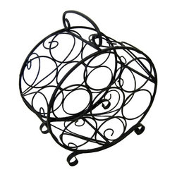 Pangaea Home and Garden - 7 Bottle Circular Wine Rack - Elegant, useful and affordable handmade piece. Holds seven bottles of wine. Environment friendly product. Made from recycled wrought iron. Durable powder coated finish. No assembly required. 14 in. W x 8 in. D x 17 in. H (6 lbs.)The iron grape leaves that gently weave their way through the frame greatly enhance the aesthetic appeal of the wine cage.