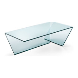 "Tonelli Design - TI Coffee Table Small - Ti was designed in 2012 for Tonelli Design by Elisabetta Gonzo and Alesandro Vicari. ""The two glass sheets that support it compose on the floor the letter T, that gives the table the name."" Ideal for living areas, Ti is produced in welded glass, that makes the product's design homogeneous and linear."