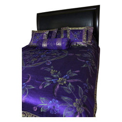 Banarsi Designs - Hand Painted Floral 7-Piece Duvet Cover Set, Plum Purple, Queen - Our decorative and unique 7-piece hand painted floral duvet cover set from Banarsi Designs includes: 1 duvet cover, 2 square pillow covers, 2 rectangular pillow covers, and 2 bolster pillow covers.