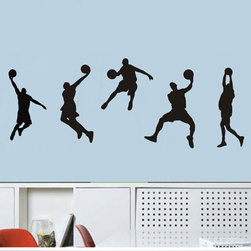 ColorfulHall Co., LTD - Sport Wall Decals Nba Stars 5 Boys Basketball - Sport Wall Decals NBA Stars 5 Boys Basketball