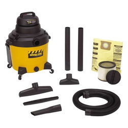 "SHOP-VAC CORPORATION - Industrial Wet/Dry Vacuum 16-Gallon - 6.25 HP. Tough poly tank. 18' power cord. 185 CFM. 120 V-60Hz. 9 amp. Includes 6' x 2-1/2"" heavy duty lock-on hose, (2) 2 1/2"" extension wands, 8"" utility hose, 14"" floor nozzle, squeegee insert, crevice tool, cartridge and drywall filter bag."
