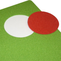 The Felt Store - Apple Green Designer Felt  Placemat With Mango Coaster 13.75 x 17.75 Inch - Decorate your home with environmentally friendly, yet beautiful furnishings! The Designer Felt Placemat and Coaster is made of 100% wool Designer Felt, showcasing the natural beauty of felt. You choose the color of the die cut coaster to create your very own color contrast. The Designer Felt is water resistant, adding enhanced longevity to your placemats. Cut with a rounded edge and dyed in rich hues, the Designer Felt Placemat and Coaster set have a modern yet natural look to complement any home. Placemat is approximately 13.75 inches x 17.75 inches at 3mm thick, and the coaster is 3.5 inches in DIA and 3mm thick.