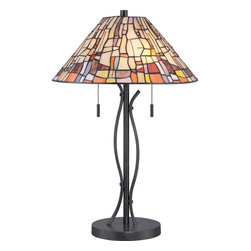 Quoizel - Quoizel Stinson Tiffany Table Lamp in Vintage Black - -Part of the Seaford Collection