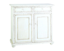 Wayborn - Jayson 2-Door Cabinet With Drawers, Whitewash - 2 Drawers. 2 Doors cabinet. Made from Basswood. Antique smooth finish. Worn look.