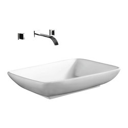 Caracalla - Rectangular White Ceramic Vessel Bathroom Sink, No Hole - Contemporary style, rectangular white ceramic vessel bathroom Sink without overflow. Trendy above counter washbasin comes with no hole. Made in Italy by Caracalla.