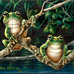 The Tile Mural Store (USA) - Tile Mural - Frogs - Kitchen Backsplash Ideas - This beautiful artwork by Wanda Mumm has been digitally reproduced for tiles and depicts a pair of goodlooking frogs sitting on a branch.  This tile mural with frogs would be perfect as a part of your kitchen backsplash tile project or your tub and shower surround bathroom tile project. Images of frogs on tile make an impressive kitchen backsplash idea and are great to use in the bathroom too for your shower tile project.