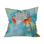 DENY Designs - Iveta Abolina Coral Throw Pillow - Unleash your inner hippie-geisha with this pillow. The detailed, black stylized flowers and leaves pop against a brightly colored background reminiscent of Japanese silkscreen — or Woodstock posters. It's printed front and back on woven polyester and comes with the pillow insert. Wax on, right on.