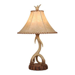 Vaxcel - Lodge Noachian Stone 27 Inch Table Lamp - Dimensions: 16 in. W x 16 in. L x 27 in. H.