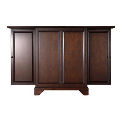 Crosley Furniture - Crosley Furniture LaFayette Expandable Bar Cabinet in Vintage Mahogany Finish - Crosley Furniture - Home Bars - KF40001BMA - Constructed of solid hardwood and wood veneers this expandable bar cabinet is designed for longevity. The beautiful raised panel doors provide the ultimate in style to dress up your home. The doors open and top folds out to double the size of your entertaining / serving area. Inside the doors you will find plentiful storage space for spirits glassware and a host of other bar items. The center cabinet features 16 bottle wine storage utility drawer hanging stemware storage and extra space for a variety of other barware.