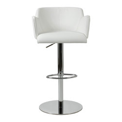 Euro Style - Sunny Bar/Counter Chair - White Leatherette/Chrome - Cozy! This is one of those chairs you can really get into. The full sided armrests wrap you up an invite you to stay. It has chromed steel frames. From what we hear, people seem to make more friends in these chairs.