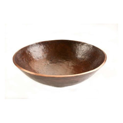 """Premier-Copper-Products - Round 16"""" Forged Old World Copper Vessel Sink - PV16RDB Premier Copper Products Round 16-Inch Hand Forged Old World Copper Vessel Sink"""