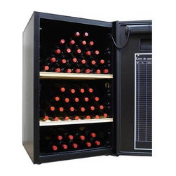Vinotemp - VinoCellier Wine Cabinet - Heavily insulated aging cabinet. Black finish. Fits 159 bottles. Cabinet: 26.88 in. W x 27.25 in. D x 43.25 in. H (134 lbs.). Optional shelves: 23.25 in. W x 21 in. D x 1.25 in. H (9 lbs.). VinoCellier collection. Made in France. Lead time: 3 to 5 days. Built-in hygrometer and exclusive dynamic heat pump. Standard two adjustable wood shelves. Holds up to eight shelves. Attached wine ledger inside the door. Quiet and compressor-based cooling system. Adjustable temperature control with digital display. Controller built into door. Locking door with two keys and recessed handle. Temperature range: 50-57�F. Optional shelves can be positioned to display bottles upright, hold bulk storage or slide out. WarrantyThe VinoCellier is a cabinet designed to store wines in most garages or basements.
