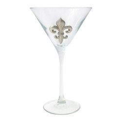 Jon Margeaux - Martini Glasses - Here's to something truly posh! This set of martini glasses features a regal-looking emblem of pure pewter. Add it to your cocktail collection to feel like a real royal.