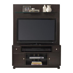 """Hooker Furniture - Kendrick Two Piece Entertainment Group - White glove, in-home delivery included!  Furniture assembly included!  Design, function, work space and organization are uppermost considerations in the Kendrick Collection.  The Kendrick Two Piece Entertainment Group is crafted from rubberwood solids and oak veneers.  It consistents of the Kendrick entertainment console and back panel with glass shelf.  Entertainment Console - Center channel speaker area, two drawers with removable CD/DVD dividers, two doors with one adjustable shelf behind each, one center open area with one adjustable glass shelf, one three plug electrical outlet.  Center panel speaker opening: 35 7/8"""" w x 18 3/4"""" d x 7"""" h  Back Panel - One glass shelf.  Shelf height: 39 1/4"""" h"""