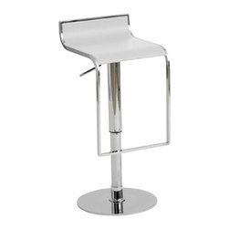 Alexander Adjustable Bar Stool by Nuevo - Nothing says modern more than smooth, curved chrome lines. The seat is molded plywood finished in leather and is available in multiple colors.
