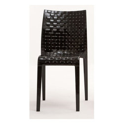 """Kartell - Ami Ami Chair (Set of 2) - Inspired by the play of warp and weft in woven fabric, Tokujin Yoshioka wanted to use this stylistic symbol typical of his culture, weaving, and thus recreated it in the Ami Ami chair and table whose name in Japanese literally means """"weave"""". The simple squared off lines contrast with the rich texture of the weaving reproduced on the inner and outer surfaces through a complex industrial process recreating the motif with a single mold. Ami Ami combines the appeal of oriental culture with the use of innovative materials like polycarbonate and comes in two transparent clear and smoked versions and three matte versions of white, red and black. The Ami Ami seat matches the table with a square polycarbonate top measuring 27.5""""x 27.5"""" covered by the weaving motif and painted aluminium legs. Designed by: Tokujin Yoshioka Features at a Glance: Ami Ami Chair Features: -Made of transparent or batched-dyed polycarbonate. -Shock, scratch and weather resistant. -Can be used indoors or outdoors. -Suitable for residential and commercial use. -Available in two transparent and three matte colors. -Made in Italy. Dimensions: -33.46"""" H X 16.14"""" W X 19.69"""" D. -Seat Height: 18.11"""". Quality: -In 2005, Kartell received accreditation for its Quality Management Systems according to the ISO 9001: 2000 standard. The attainment and preservation of this certification testifies to Kartell's commitment to high quality and continued research into higher levels of quality in company management systems. Helping the Environment: -Kartell products use a wide variety of plastic materials, thereby reducing the use of living organisms, such as trees, which are difficult and time-consuming to replace. -Most Kartell products are easily recycled and product components can be separated to elements made of a single material to simplify the recycling process. Plastic components also carry clear identification marks to aid correct separation of different plastic types for effe"""