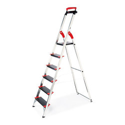 "Frontgate - Championsline 6-step Ladder - Extendable top safety rail. Extra-deep 5"" steps with nonslip ribbing and corner reinforcements. 225 kg/496 lbs. maximum load capacity meets class EN131 commercial rating. 10-1/2"" sq. platform for solid footing at the very top step. Folds to 5"" deep. Our German-engineered Lightweight Championsline Deep-step Ladders make your safety the highest priority. Crafted of the finest commercial-grade aluminum, the extremely durable ladders feature a solid 5-inch platform at the very top step and an integrated work tray to keep tools and cables close at hand.  .  .  . .  . Aluminum frame with black and red accents on steps."