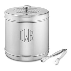 Monogrammed Stainless Steel Ice Bucket With Tongs - Adding a monogram to this classic stainless steel ice bucket will make it an heirloom to be passed down through the family. It's a timeless shape with simple banding for interest.