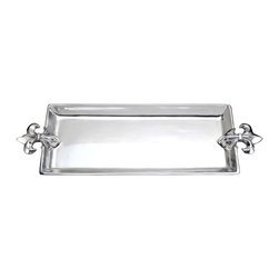 Arthur Court - French Lily Oblong Tray - Serve in high French style with this elegant platter. The 21-by-7-inch tray is made from cast aluminum and features a raised edge and handles in a classic fleur-de-lis shape. Whether you use it to serve hors d'oeuvres or to corral items on your dresser, this piece is sure to add sparkle and shine.