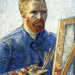 "Vincent Van Gogh Self Portrait as a Painter Print - 18"" x 24"" Vincent Van Gogh Self Portrait as a Painter (also known as Self Portrait in Front of the Easel) premium archival print reproduced to meet museum quality standards. Our museum quality archival prints are produced using high-precision print technology for a more accurate reproduction printed on high quality, heavyweight matte presentation paper with fade-resistant, archival inks. Our progressive business model allows us to offer works of art to you at the best wholesale pricing, significantly less than art gallery prices, affordable to all. This line of artwork is produced with extra white border space (if you choose to have it framed, for your framer to work with to frame properly or utilize a larger mat and/or frame).  We present a comprehensive collection of exceptional art reproductions byVincent Van Gogh."