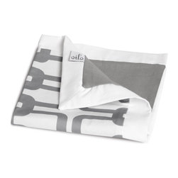 """Oilo - Oilo Link Stone Play Blanket - Comfortable and contemporary, Oilo turns any nursery into a modern sanctuary. The soft, cozy Link play blanket makes the perfect tummy time and nap accessory. A stone gray geometric pattern pops against this bedding's white background for a sophisticated statement. Made in the USA from duck cotton with a sateen reverse. Machine washable. 40""""W x 50""""H. Flange: 2""""W."""