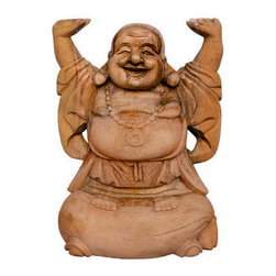 Brilliant Imports - Abundance Buddha I - Hands up!  Welcome abundance into your life with this happy Buddha, sure to bring joy into any corner of your home.  Note: In Bali, big Buddha bottoms equal good fortune.