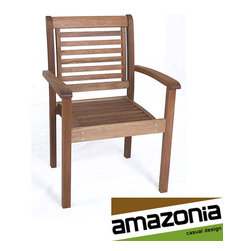 Amazonia - Eucalyptus Wood Stackable Chair - This stylish wooden chair makes an ideal addition to your existing outdoor seating options. Made from eucalyptus wood with a Polisten finish, the chair offers style and durability. The unique design will complement your existing patio furniture nicely.