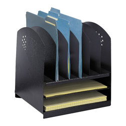 Safco - Safco Black Combination Steel Desk Rack w/6 Vertical and 2 Horizontal Sections - Safco - Desktop Organizers - 3166BL - This steel horizontal/vertical desk filing rack is ready to handle paperwork file folders books binders etc. all in one unit. Front and end panels feature a decorative contemporary design. Rubber feet included to protect work surfaces. All steel construction with a durable powder coat finish.