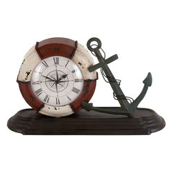 Benzara - Durable Metal Table Clock with Sophisticated Style - Displaying your love for water, this showpiece is a perfect addition to your decorative accessories. Not only does it add as a great decor piece, it also creatively incorporates a clock. Perfect to be kept on your study or your living room, or even at your office desk, this metal table clock is apt for being a time piece along with being a decor item. Made of finest quality metal, it incorporates an anchor and a swimming float resting upon a sturdy flat rectangular wooden base. Its bright color combination of red white and dark brown goes well with any decor backdrop. Traditional or contemporary, this piece goes well with any interior.