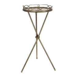 Gold and Mirror Round Tray Table - *Need a great accent table? Aniston Round Tray Table's small size and decorative bronze finish make it ideal.
