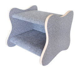 Davies Decor - Googie Cat Bed, Charcoal Boomerang/Charcoal - Inspired by the Googie style of architecture (think 1950s coffee shops with their curvy signs and boomerang patterns on the countertops), the Googie Cat Bed celebrates the spirited optimism of postwar America. Solidly constructed of plywood laminated by Formica and sheathed in carpet made of 100% post consumer recycled bottles and padded inside, the Googie Cat Bed adds fun to both your home and your cat's day. Formica pattern: Charcoal Boomerang. Carpet color: Charcoal.