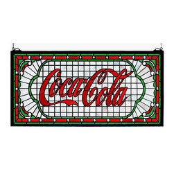"Meyda Tiffany - Meyda Tiffany 106233 Coca-Cola Victorian Web Stained Glass Tiffany Window - One of the most recognizable and iconic symbols of our time ""Coca - Cola"" a true American original has teamed up with another true American original ""Meyda Tiffany"" to offer these beautiful one of a kind stained glass windows."