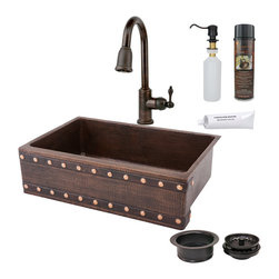 "Premier Copper Products - 33"" Apron Barrel Strap Sink w/ ORB Faucet - PACKAGE INCLUDES:"