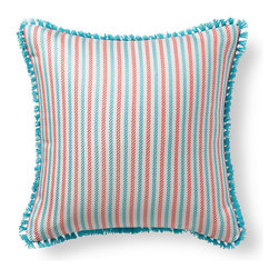 Frontgate - Fairway Stripe Green Outdoor Pillow - 100% Sunbrella® solution-dyed acrylic fabric. Finished in Aruba eyelash fringe. Resists fading, mold and mildew. High-density polyester fill. Spot clean with mild soap and water; air-dry only. Bursting with welcoming texture and pattern, the Sunbrella Fairway Stripe Tropical Outdoor Pillow will instantly enhance your outdoor setting. Embellished with intricate Aruba eyelash fringe and constructed of all-weather fabric, this exclusive pillow maintains its radiance through seasons of use. 100% Sunbrella solution-dyed acrylic fabric .  .  .  .  . Zipper closure . Made in the USA.