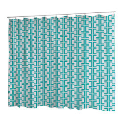 Uneekee - Uneekee Rodeo Teal Lattice Shower Curtain - Your shower will start singing to you and thanking you for such a glorious burst of design as you start your day!  Full printing on the front and white on the back.  Buttonhole openings for shower rings.