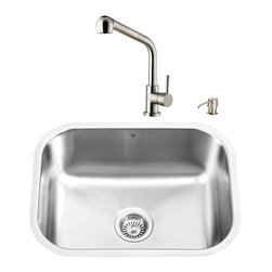 """VIGO Industries - VIGO All in One 23-inch Undermount Stainless Steel Kitchen Sink and Faucet Set - Breathe new life into your kitchen with a VIGO All in One Kitchen Set featuring a 23"""" Undermount kitchen sink, faucet, soap dispenser, matching bottom grid, and sink strainer."""