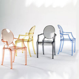 Kartell - Kartell Louis Ghost Chair (Set of 2) - A comfortable armchair in transparent and colored polycarbonate in the Louis XV style, it is the quintessence of baroque revisited to dazzle, excite and captivate.  Louis Ghost is the most daring example in the world of injected polycarbonate in a single mould.  Despite its evanescent and crystalline appearance, Louis Ghost is stable and durable, shock and weather resistant and can also be stacked six high.  This article has great charm and considerable visual appeal and brings a touch of elegance and irony to any style of home or public area.  Manufactured by Kartell.