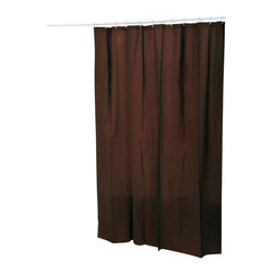 Eva Shower Curtain Chocolate - This shower curtain for bathrooms is mainly in Eva (75 % Eva and 25 % polyethylene). This neutral tone shower curtain lends a touch of elegance and style to your bathroom. Reinforced grommets and header along the top make it durable enough for long-lasting satisfaction (12 shower rings needed, sold separately). Prior to hanging, immerse curtain in a bath of warm water to help remove creases. Cleaning with soapy water only. Width 71-Inch and height 79-Inch. Color solid brown. This shower curtain is the perfect blend of simplicity and perfect to add a decorative touch in your bathroom! Complete your decoration with other products of the same collection. Imported.
