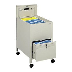 Safco - Safco Locking Mobile Letter Size Metal Tub File with Drawer in Putty - Safco - Filing Cabinets - 5364PT - Give organizing the right push with a mobile filing system. The filing system is complete with a tub file on top and a full suspension bottom file drawer that provides additional filing and storage capacity. Both lid and file drawer lock (4 keys included). Durable steel construction holds up to heavy daily use. Top viewing design allows easy filing and retrieval of stored documents. Holds letter size hanging file folders (not included). Rolls easily to point of use on four swivel casters (two lock).
