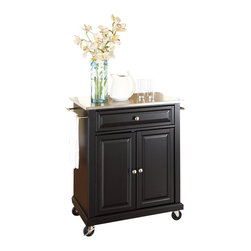 Crosley Furniture - Crosley Furniture Stainless Steel Top Kitchen Cart in Black - Crosley Furniture - Kitchen Carts - KF30022EBK - Constructed of solid hardwood and wood veneers this portable kitchen cart is designed for longevity. The beautiful raised panel doors and drawer front provide the ultimate in style to dress up your kitchen. The deep drawer is great for anything from utensils to storage containers. Behind the two doors you will find an adjustable shelf and an abundance of storage space for things that you prefer to be out of sight. The heavy duty casters provide the ultimate in mobility. When the cabinet is where you want it simply engage the locking casters to prevent movement. Style function and quality make this portable kitchen cart a wise addition to your home.