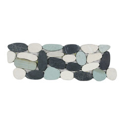 CNK Tile - Sliced Bali Turtle Pebble Tile Border - Each pebble is carefully selected and hand-sorted according to color, size and shape in order to ensure the highest quality pebble tile available. The stones are attached to a sturdy mesh backing using non-toxic, environmentally safe glue. Because of the unique pattern in which our tile is created they fit together seamlessly when installed so you can't tell where one tile ends and the next begins!