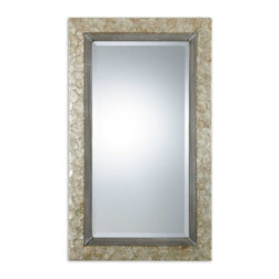 """Carolyn Kinder - Carolyn Kinder Pearl Wall Mirror X-62670 - Frame is made from lightly stained, Mother of Pearl shell with champagne highlights and antiqued silver metal rope details. Mirror features a generous 1 1/4"""" bevel. May be hung either horizontal or vertical."""