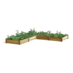 Gronomics L Shaped Modular Raised Garden Bed - Expand your gardening possibilities with the Gronomics L Shaped Modular Raised Garden Bed. Made of cedar, this modular raised bed kit makes it easy to grow a lush, thriving garden. It's easy to assemble and offers an L-shaped design for an attractive look. Its cedar wood naturally resists mold, weather, and bugs. Creating a raised bed also helps minimize weeds, soil amending, and tilling. Place it anywhere in the yard and create a garden the neighbors will be envious of!About GronomicsWith Gronomics, you no longer need a big yard to do your gardening. The Minnesota-based company manufactures unique, ergonomically designed 100% Western Red Cedar garden planters that offer tool-free assembly. Gronomics makes everything from elevated beds, raised beds, planter benches and much more, all of which are designed to make gardening easy and more accessible for all ages. Herbs, vegetables and flowers can all be tended to while standing or sitting and the company's unique designs even allows easy access for those in wheelchairs.