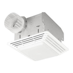 Broan-NuTone - Broan-Nutone HD80LNT Heavy Duty Ventilation Fan / Light - HD80LNT - Shop for Exhaust Fans from Hayneedle.com! Ideal for commercial settings the ultra-powerful NuTone HD80LNT Heavy Duty Ventilation Fan / Light will work quickly and quietly to keep your office or bathroom fresh and clean. This dual-purpose ventilation fan includes a light that fits a 100W bulb and provides efficient effective coverage up to 75 square feet. This highly efficient ventilation fan operates with a durable centrifugal blower wheel and a resilient motor mount to isolate vibration. It fits a 4-inch duct for easy assembly and includes a pre-wired outlet box for a plug-in motor plate. Finished in neutral enamel white the engineered grille can be painted to suit any decor. This unit is UL listed for installation over a tub or in a shower unit when connected to a GFCI-protected branch circuit.Dimensions:Housing: 10.625L x 11.125W x 2H inchesGrille: 8L x 8.25W x 5H inchesAbout Broan-NuToneBroan-NuTone has been leading the industry since 1932 in producing innovative ventilation products and built-in convenience products all backed by superior customer service. Today they're headquartered in Hartford Wisconsin employing more than 3200 people in eight countries. They've become North America's largest producer of medicine cabinets ironing centers door chimes and they're the industry leader for range hoods bath and ventilation fans and heater/fan/light combination units. They are proud that more than 80 percent of their products sold in the United States are designed and manufactured in the U.S. with U.S. and imported parts. Broan-NuTone is dedicated to providing revolutionary products to improve the indoor environment of your home in ways that also help preserve the outdoor environment.