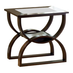 Steve Silver Furniture - Steve Silver Dylan End Table - Dylan End Table belongs to Dylan collection by Steve Silver The Dylan Occasional collection while simple has lots of style. Highlighted by the curves in the base the table tops feature glass inserts. Sure to add interest to any room.