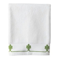 Serena & Lily - Gobi Bath Towel  Grass - We believe a bath towel should be one of life's little luxuries. Woven in Portugal from supremely soft cotton, they're lofty, absorbent and quick to dry. The embroidered motif was borrowed from our best-selling sheets, adding just the perfect pop of green to a white ground. Best of all they won't fade, fray or wear out.