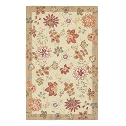 Surya - Surya Flor Hand Hooked Off White Wool Rug, 9' x 12' - Great floral designs in warm colors make Flor a collection for people who like to add some casual flair to their decor. Hand hooked in China from 1% wool, this collection is a beautiful addition to any home decor. Imported.Material: 100% WoolCare Instructions: Blot Stains
