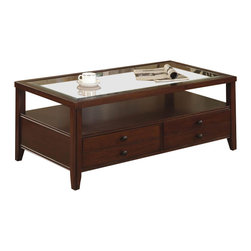 Riverside Furniture - Riverside Furniture Avenue Drawer Cocktail Table in Dark Cherry - Riverside Furniture - Coffee Tables - 61002 - The Arkansas River Valley is home of majestic forests ruggedly beautiful mountains gurgling brooks and swiftly flowing rivers. It is also the home of Riverside Furniture Corporation. But like they would with any old friend most folks refer to us just by our first name. Riverside has been growing with America for more than half a century now and since then Riverside has been a name three generations of Americans who have furnished their homes and offices with our wide range of furniture products. We want the Riverside name to be trusted for quality products that are an affordable value. It's just that simple.